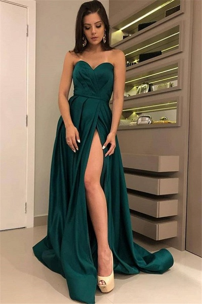Attractive Strapless Split Front A-line Prom Dress_1