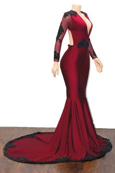 Excellent V-neck Appliques Mermaid Prom Dress_3
