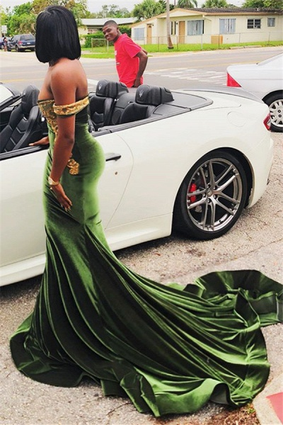 Latest Off-the-shoulder Appliques Mermaid Prom Dress_4