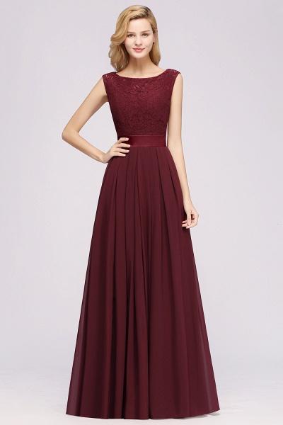 A-line Chiffon Lace Jewel Sleeveless Ruffles Floor-length Bridesmaid Dress_3