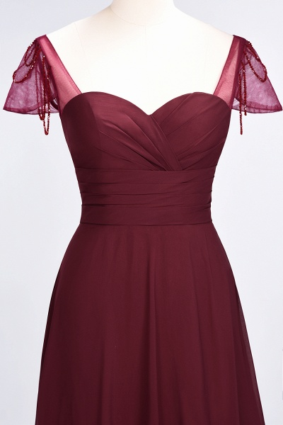 A-Line Chiffon Sweetheart Cap-Sleeves Ruffle Floor-Length Bridesmaid Dress with Beadings_38