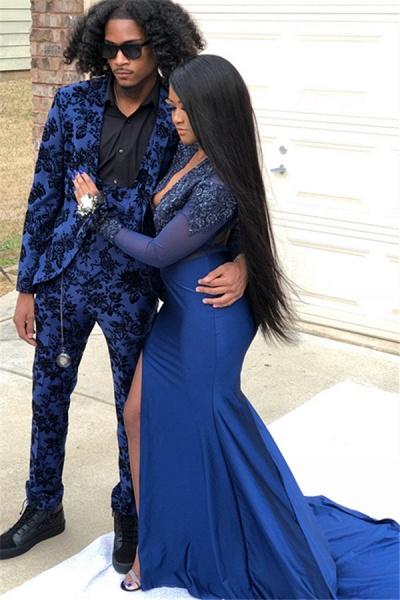 Precious V-neck Appliques Mermaid Prom Dress_3