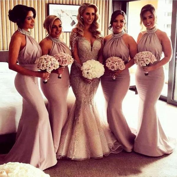 Elegant Halter Mermaid Bridesmaid Dresses | Sexy Ruched Long Wedding Party Dresses_3