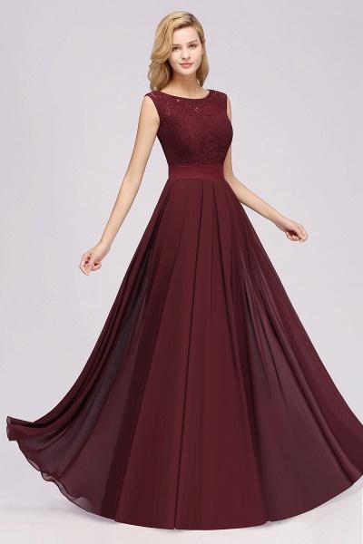 A-line Chiffon Lace Jewel Sleeveless Ruffles Floor-length Bridesmaid Dress_5