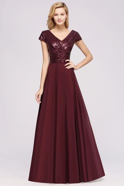 BM0156 A-Line Burgundy Chiffon Sequined V-Neck Sleeveless Ruffles Bridesmaid Dresses_3