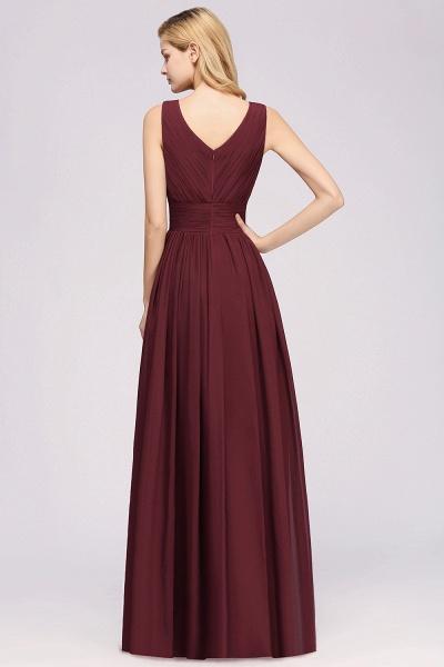 BM0214 A-Line Chiffon V-Neck Sleeveless Long Bridesmaid Dress_3