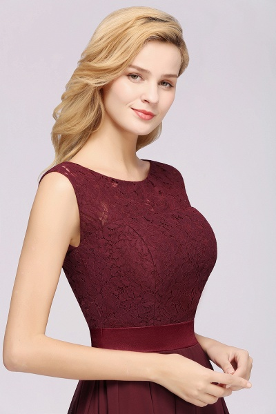 A-line Chiffon Lace Jewel Sleeveless Ruffles Floor-length Bridesmaid Dress_7