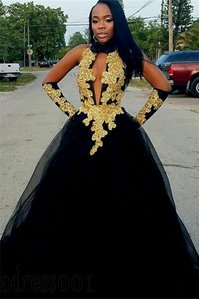 Chic Gold Appliques Ball Gown Prom Dress_1