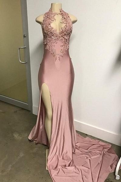 Pink Sleeveless Front Slit Appliqued Long Mermaid Prom Dresses_1