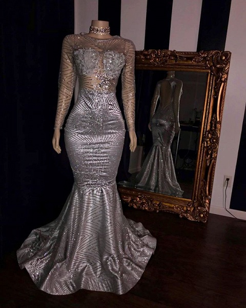 Elegant Appliques Sheer Tulle Prom Dresses   Sliver Long Sleeves Mermaid Evening Gowns_2