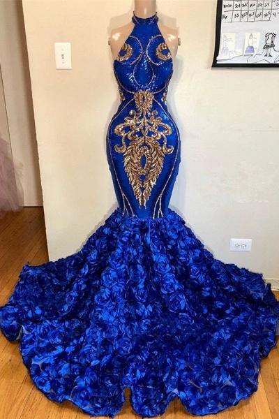 2021 Royal Blue Halter Mermaid Prom Dresses   Gorgeous Sleeveless Flowers Long Evening Gowns_1