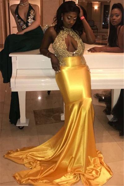 Exquisite Halter Appliques Mermaid Prom Dress_1