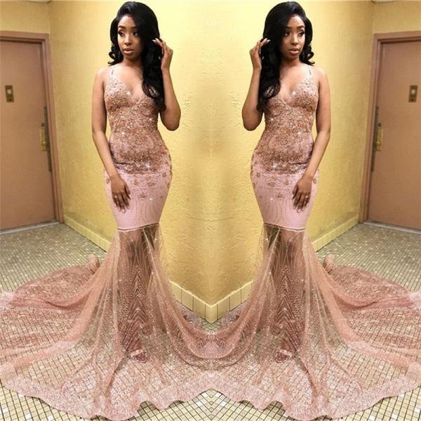 Eye-catching Spaghetti Straps Appliques Mermaid Prom Dress_2