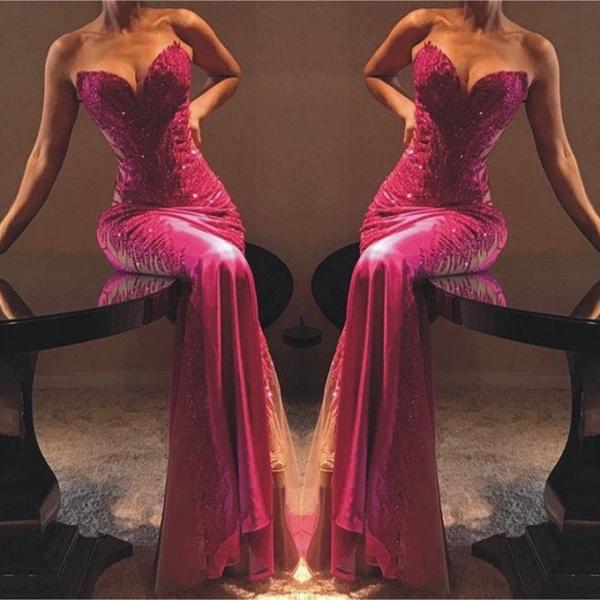 Elegant Sweetheart Appliques Column Prom Dress_2