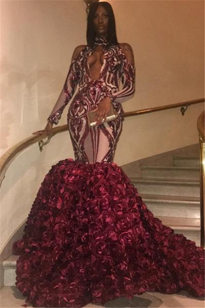 Graceful High Neck Appliques Mermaid Prom Dress_1