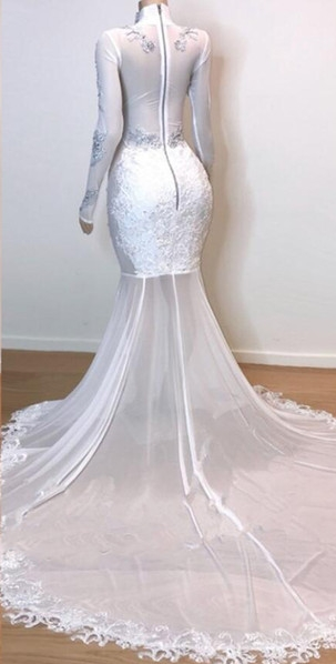 White Stunning Lace Long Sleeves Prom Dresses | 2021 Sheer Tulle Slit Mermaid Evening Gowns_3