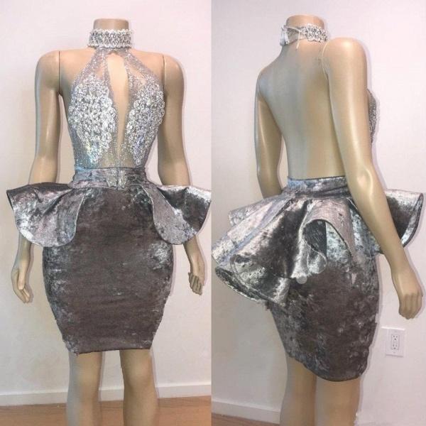 Halter Keyhole Neckline Appliqued Short Prom Dresses_3