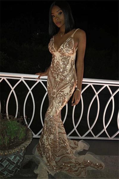 Excellent Spaghetti Straps Appliques Mermaid Prom Dress_1