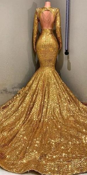 Gorgeous Mermaid Sequins Long Sleeves Floor Length Prom Dresses_4