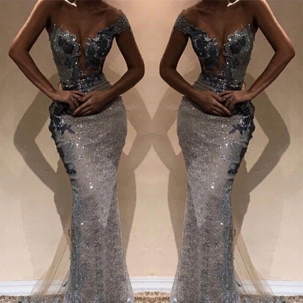 Glorious One Shoulder Sequined Column Prom Dress_2