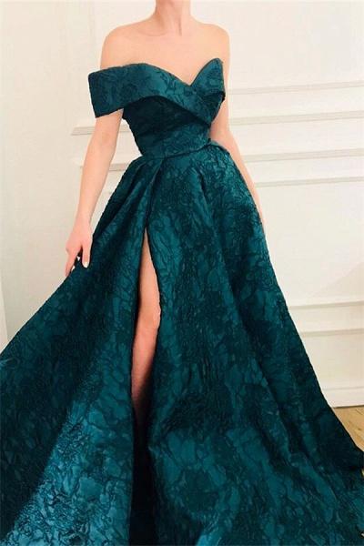Sleek Off-the-shoulder Appliques A-line Prom Dress_1
