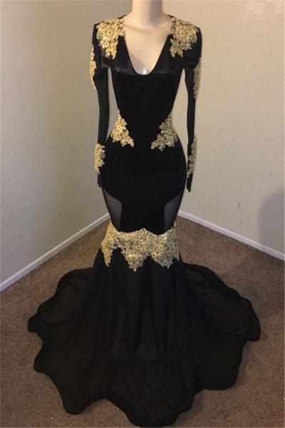 Attractive V-neck Appliques Mermaid Evening Dress_1