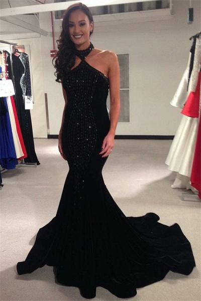 Graceful High Neck Crystal Mermaid Prom Dress_1