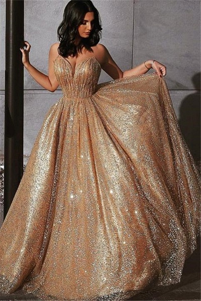 Best Spaghetti Straps Sequined A-line Prom Dress_1