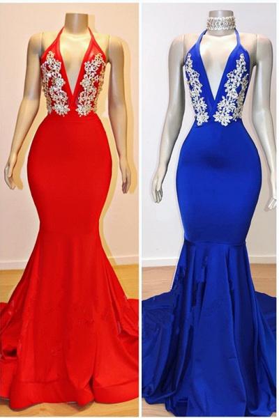 V-Neck Halter Mermaid Appliques Prom Dresses_1