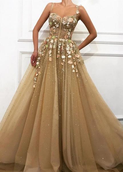 Chic Spaghetti Straps Appliques A-line Prom Dress_1