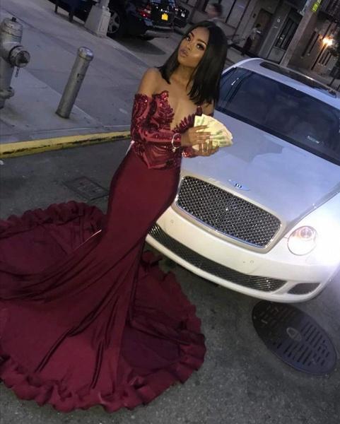 Attractive Sweetheart Satin Mermaid Prom Dress_4