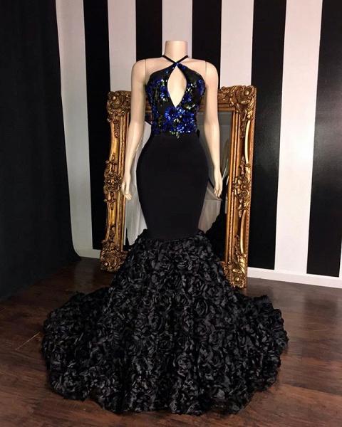 Black Sleeveless Flowers Mermaid Prom Dresses | Elegant Halter Sequins Appliques Evening Gowns_2