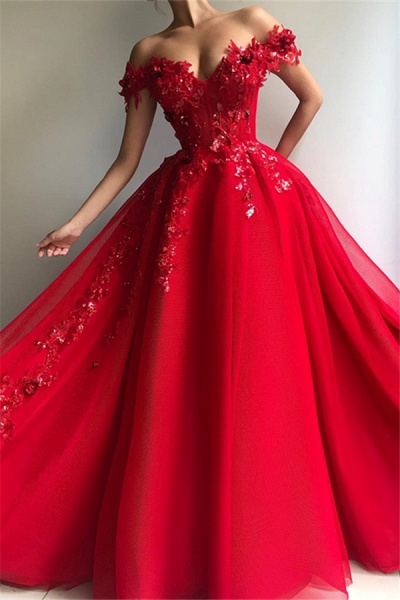 Excellent Off-the-shoulder Appliques A-line Prom Dress_1