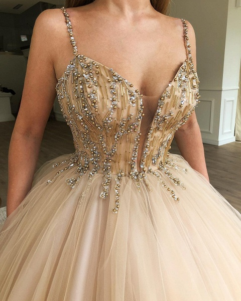 Latest Spaghetti Straps Beading Ball Gown Prom Dress_2