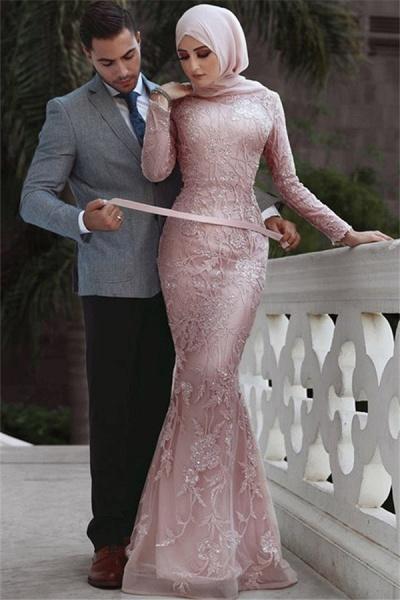 Fabulous High Neck Appliques Mermaid Prom Dress_1