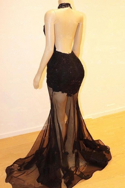 Sexy Halter Lace See Through Floor Length Mermaid Prom Dresses_3