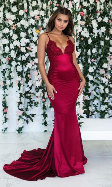 Awesome Spaghetti Straps Appliques Mermaid Prom Dress_1