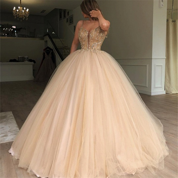 Latest Spaghetti Straps Beading Ball Gown Prom Dress_3