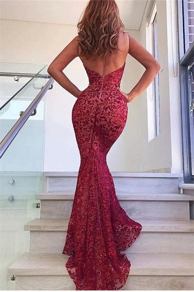 Awesome Spaghetti Straps Lace Mermaid Prom Dress_2