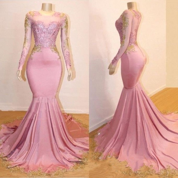Pink Appliques Long Sleeves Prom Dresses | 2021 Gorgeous Mermaid Evening Gowns_4
