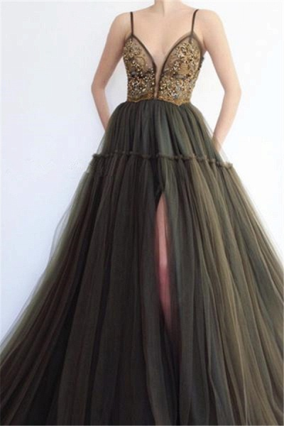 Excellent Spaghetti Straps Split Front A-line Prom Dress_1