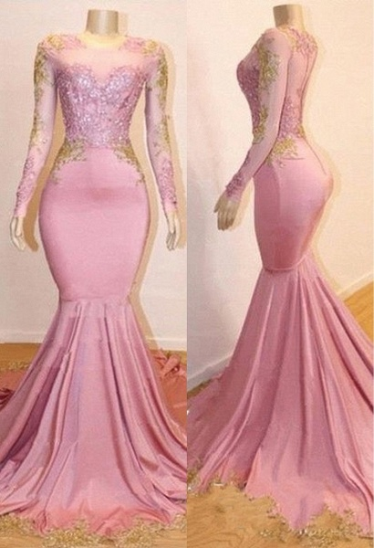 Pink Appliques Long Sleeves Prom Dresses | 2021 Gorgeous Mermaid Evening Gowns_3