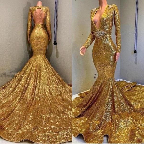 Gorgeous Mermaid Sequins Long Sleeves Floor Length Prom Dresses_5
