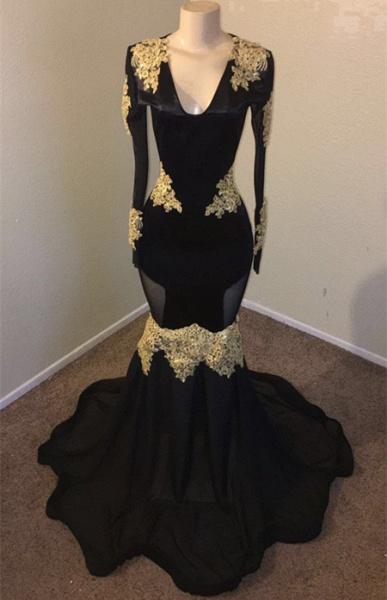 Attractive V-neck Appliques Mermaid Evening Dress_2
