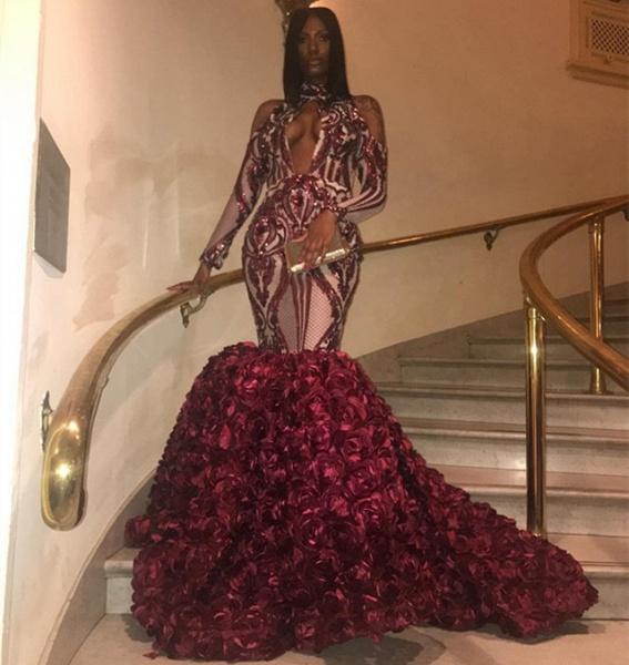 Graceful High Neck Appliques Mermaid Prom Dress_2
