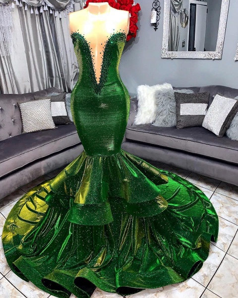 Green Gorgeous Ruffles Mermaid Prom Dresses | Sexy Sweetheart Appliques Long Evening Dresses_3