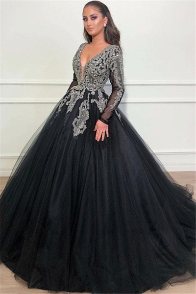 Beautiful V-neck Appliques Ball Gown Prom Dress_1