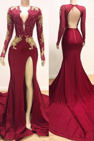 Deep V-neck Long Sleeves Lace Appliques Split Mermaid Evening Gowns_1