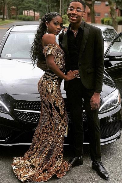 Excellent Off-the-shoulder Appliques Column Prom Dress_1