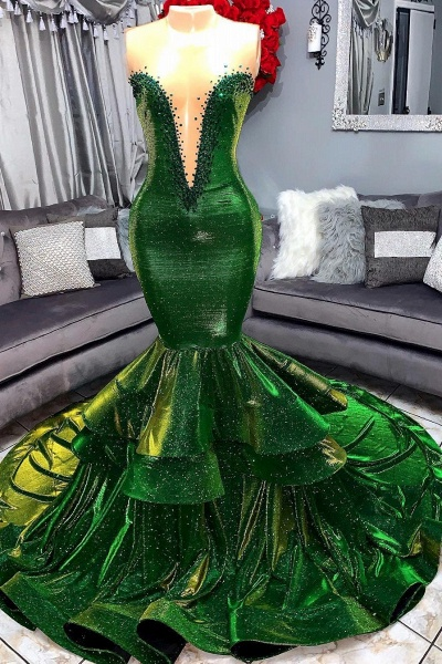 Green Gorgeous Ruffles Mermaid Prom Dresses | Sexy Sweetheart Appliques Long Evening Dresses_1